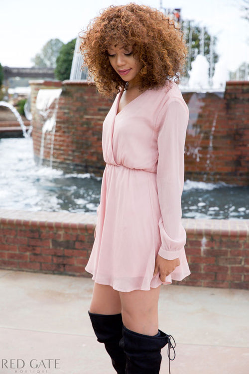 COMFY & BRIGHT DRESS - BLUSH - Red Gate Boutique