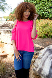 SALSA SATURDAY BLOUSE - FUCHSIA - Red Gate Boutique