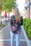 Floral bloom top - navy - Red Gate Boutique