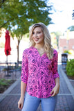 Beauty print top - pink - Red Gate Boutique