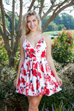 GO WITH THE FLOW DRESS - WHITE/RED