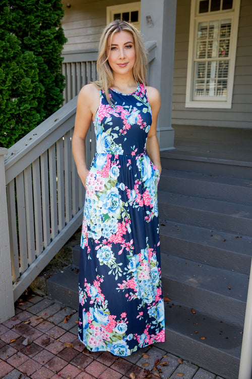 Blooming petals maxi dress - navy - Red Gate Boutique