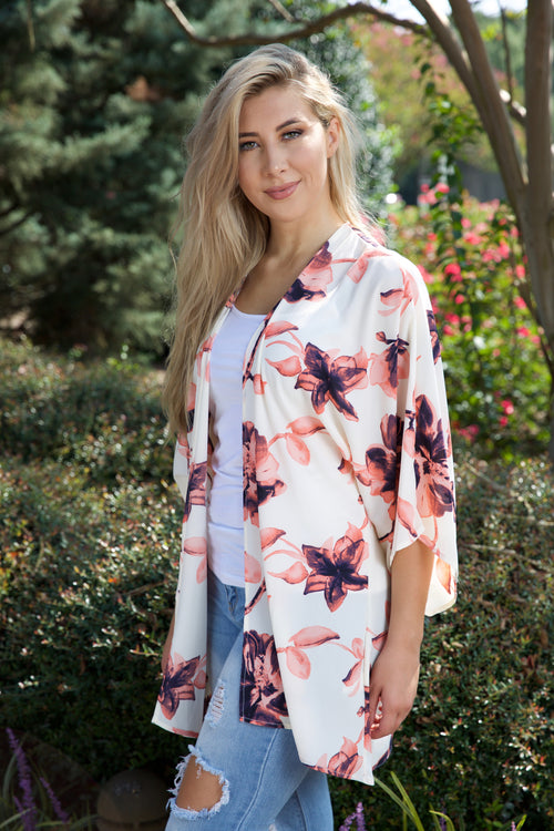 Breezy + beautiful kimono - white - Red Gate Boutique