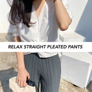 Relax Straight Pleated Pants
