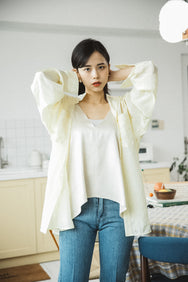 *FINAL SALE* CREPE OVERSIZED BLOUSE (YELLOW)