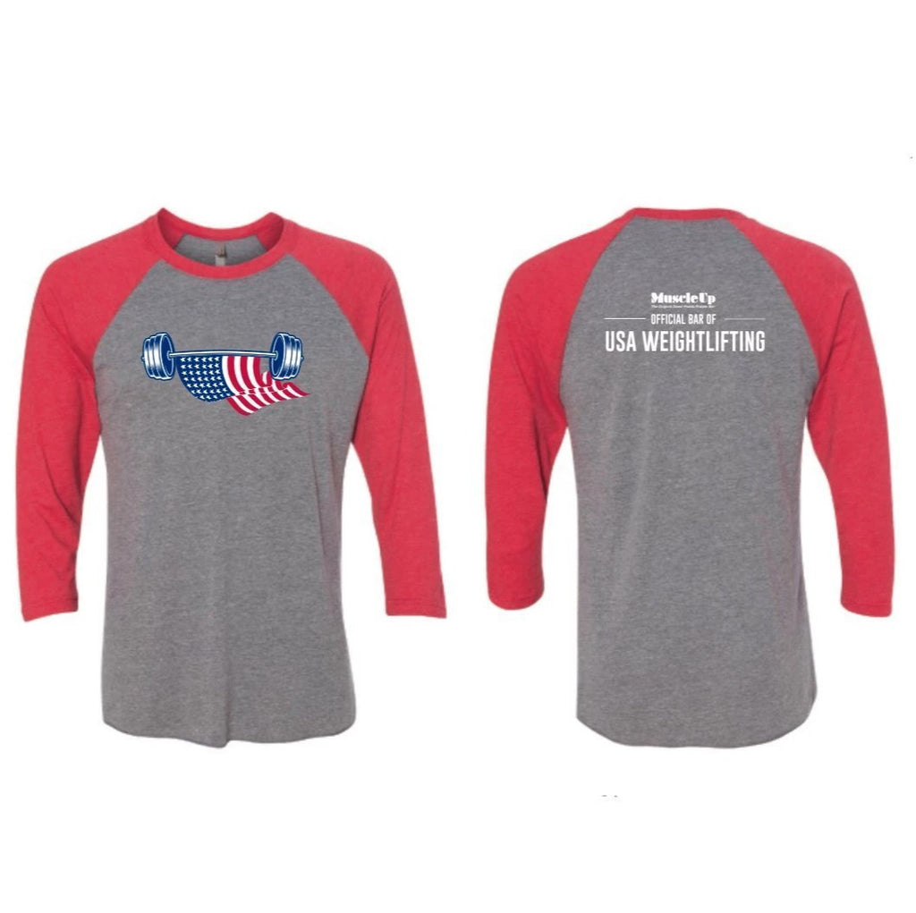American Flag Barbell, Unisex 3/4 Sleeve Baseball T-Shirt - Muscle Up Bars