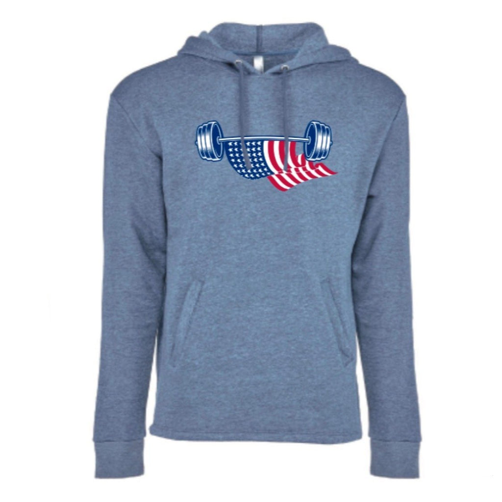 American Flag Barbell, Unisex Pullover Hoodie - Muscle Up Bars