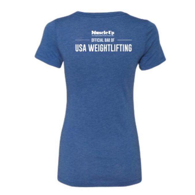 American Flag Barbell, Women's Short Sleeve Crew T-Shirt - Muscle Up Bars