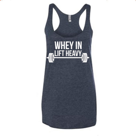 WHEY IN LIFT HEAVY, Women's Racerback Tank (NAVY) - Muscle Up Bars