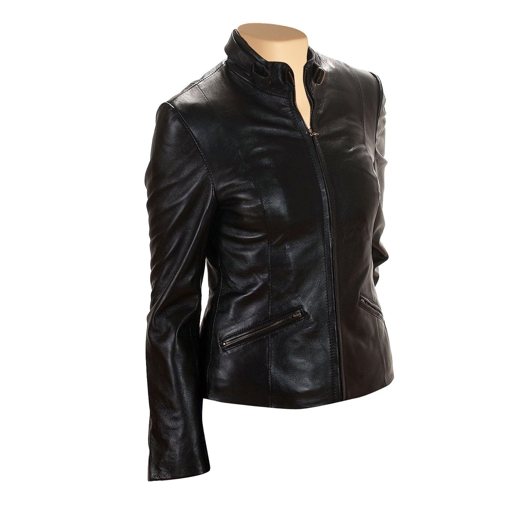 Women's Lidia Black Leather Jacket with Front Zipper