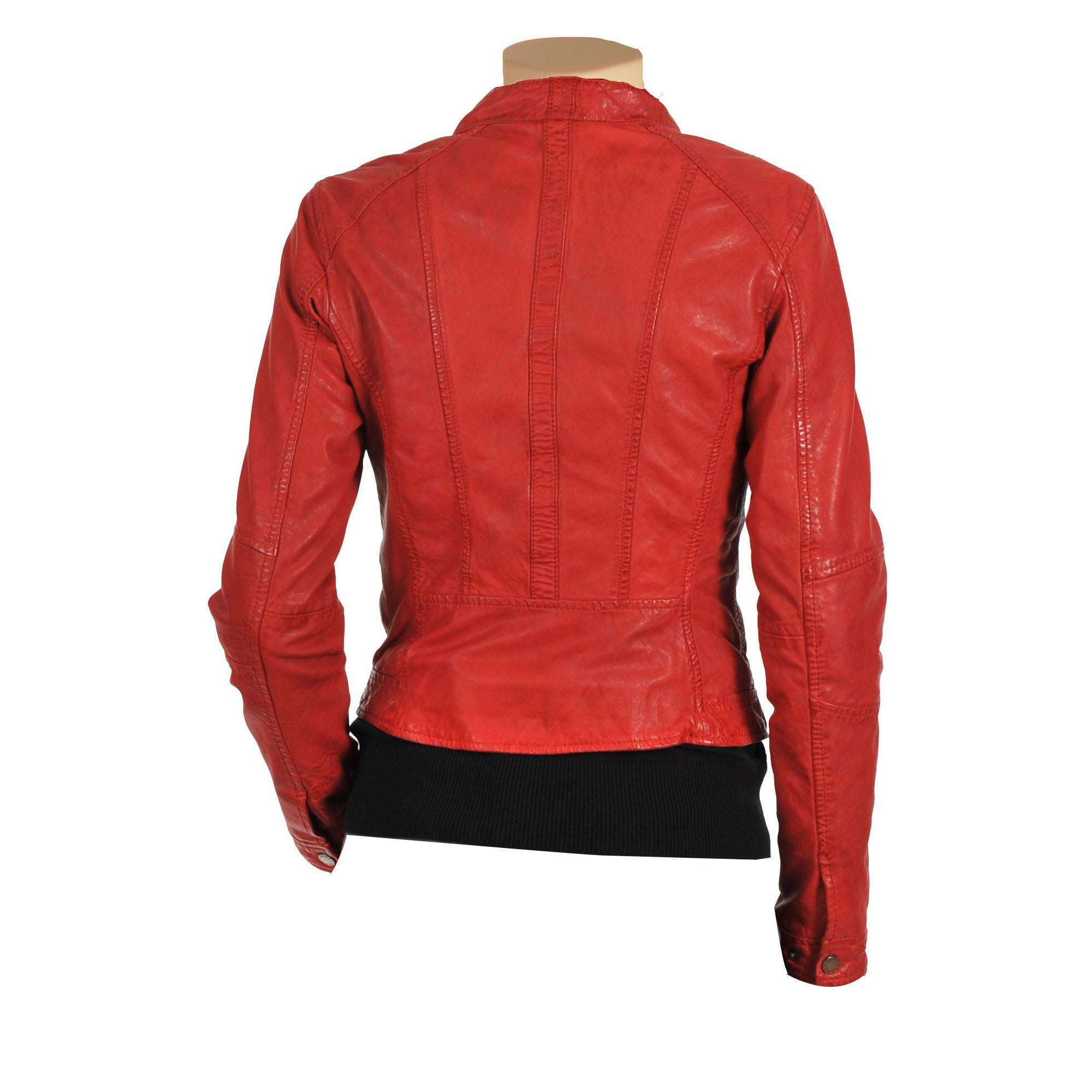 Women's Red moto style leather jacket - Lusso Leather - 2