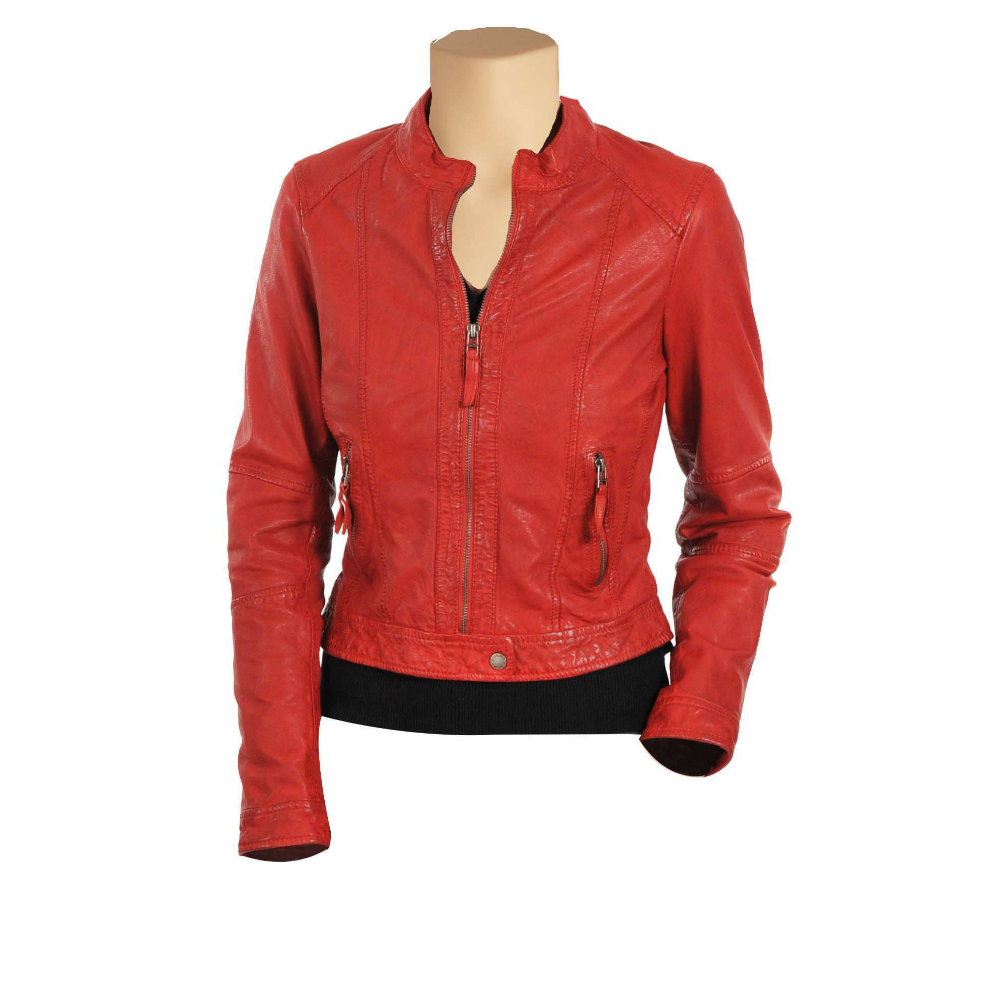 Women's Red moto style leather jacket - Lusso Leather - 1