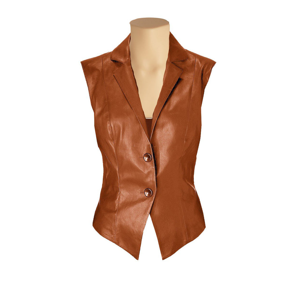Tan brown leather vest with lapels - Lusso Leather