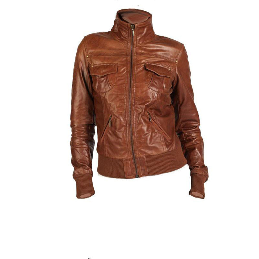 Women's Tan brown leather jacket - Lusso Leather - 1