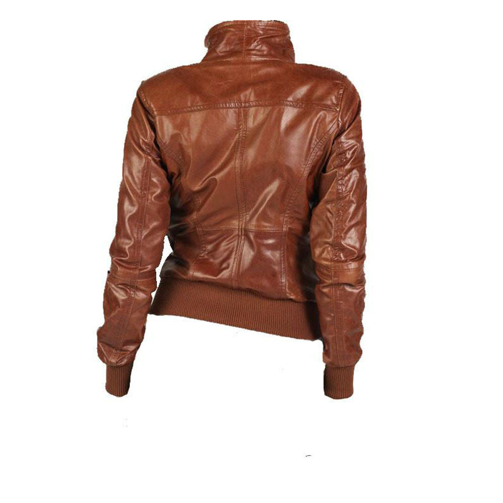 Women's Tan brown leather jacket - Lusso Leather - 2
