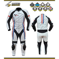 White motorcycle suit with red and blue stripes