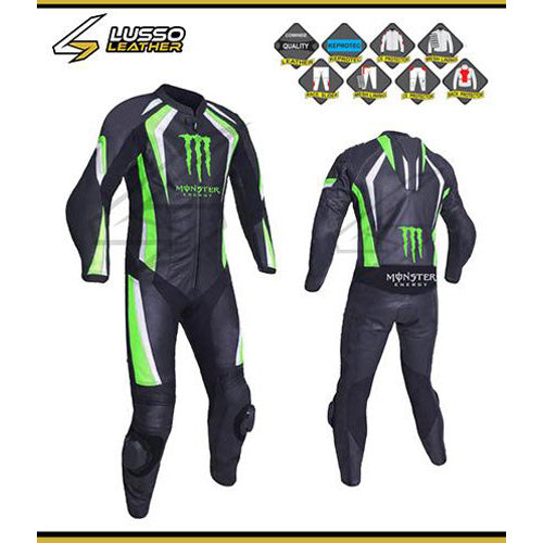 Monster green and black motorcycle leather suit