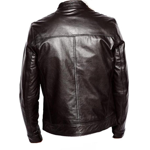 Women's black leather jacket with straight collar