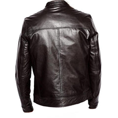Women's black leather jacket with straight collar - Lusso Leather - 1