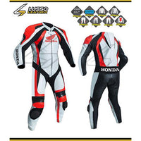 Honda white and red motorcycle leather suit