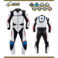 BMW white, blue and red leather suit