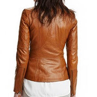 Women's stylish tan brown leather jacket with quilted patches