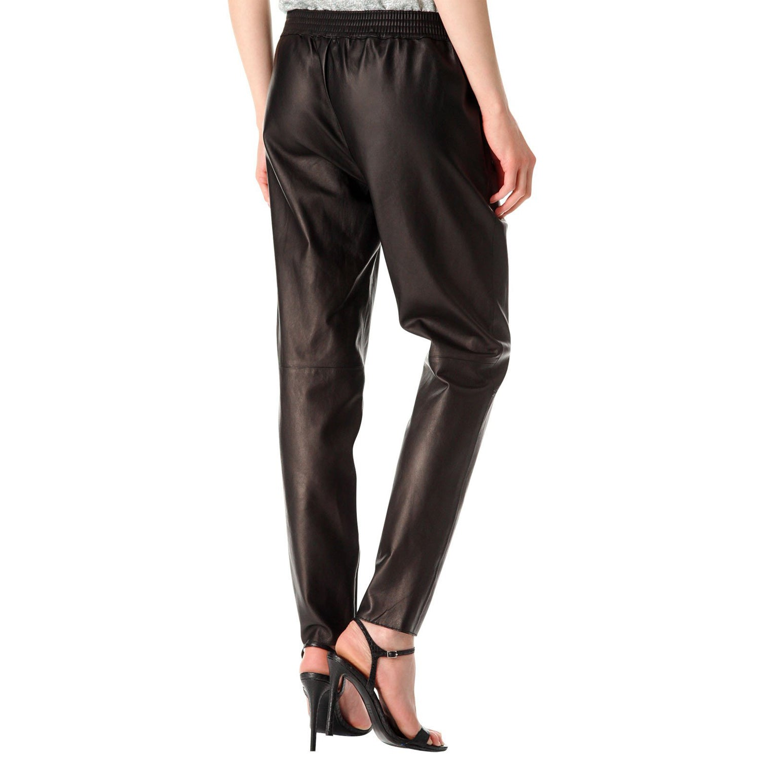 Brown leather pants with elastic waist (style #5) - Lusso Leather - 2