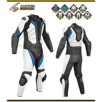 Rowland's white, black, red and blue motorcycle leather suit