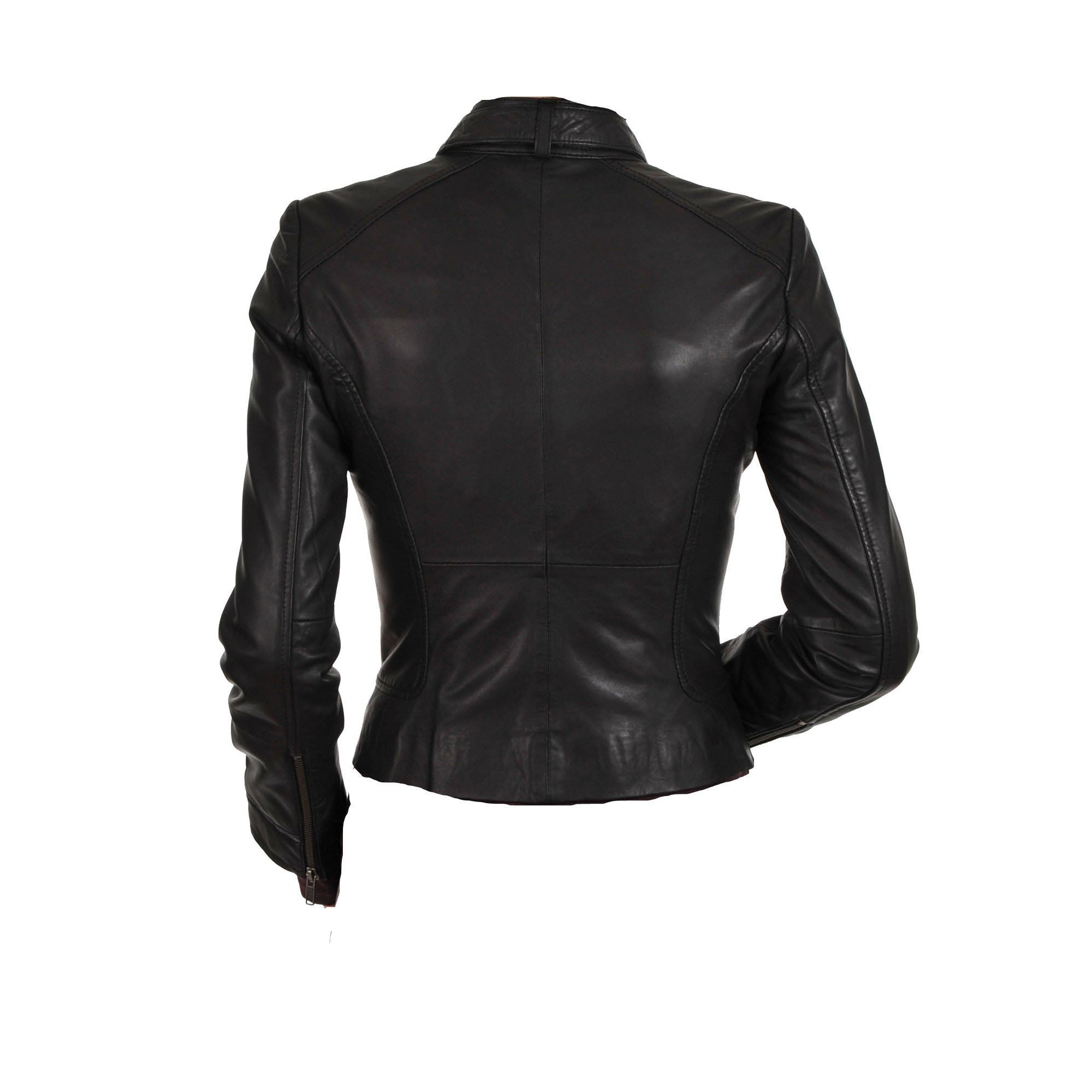 Women's black leather jacket with collar belt - Lusso Leather - 2