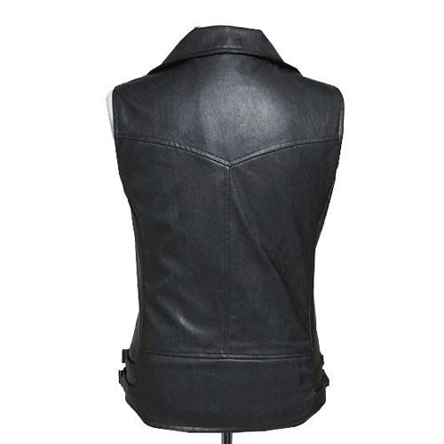 Biker leather vest with contrast zipper - Lusso Leather - 2