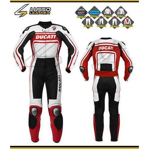 Ducati white, black and red motorcycle leather suit