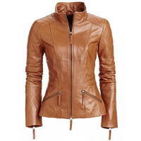 Women's stylish English Tan leather jacket with quilted patches