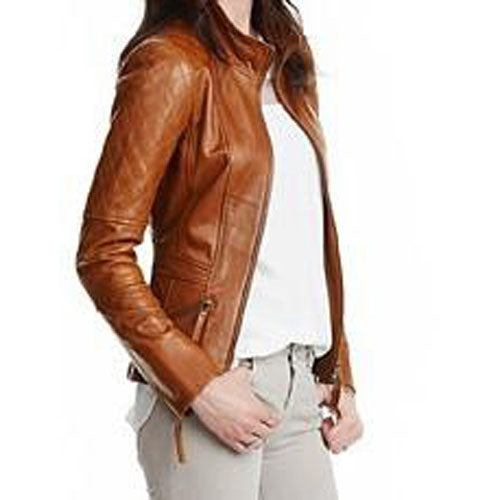 English tan leather jacket with quilted patches- PRE MADE CLEARANCE