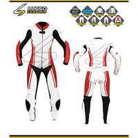 Women's white and red motorcycle leather suit
