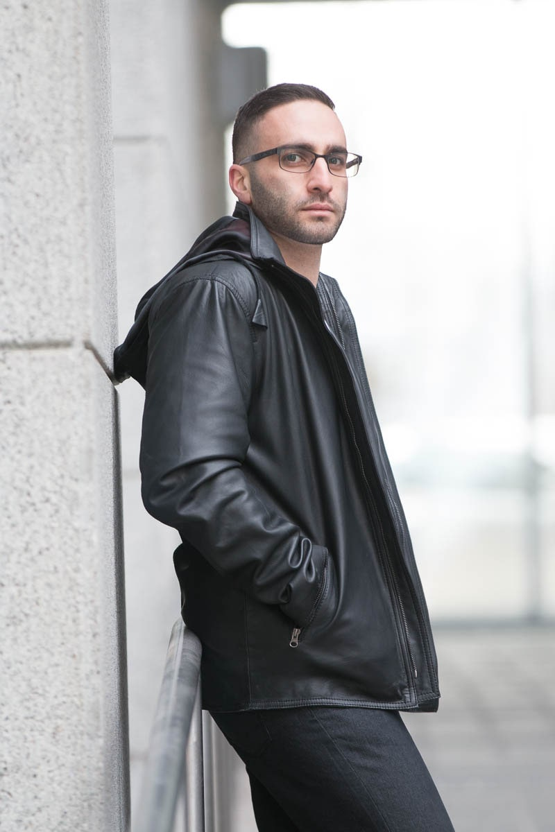 Dapper zip up leather jacket with hoodie