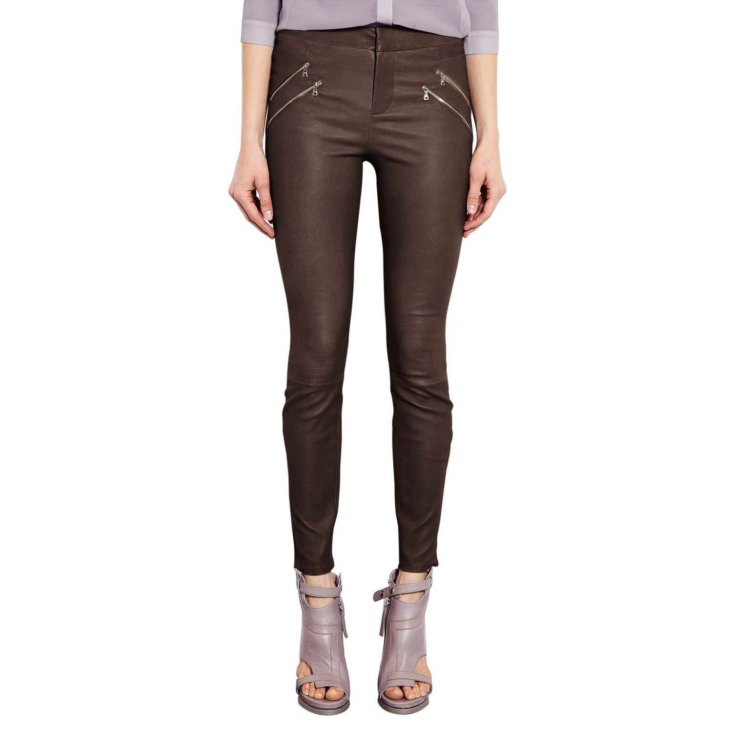 Brown leather pants (style #7) - Lusso Leather - 1