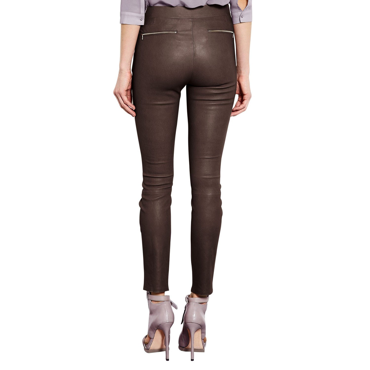 Brown leather pants (style #7) - Lusso Leather - 2