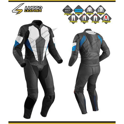 Hinton's black, white and blue motorcycle leather suit