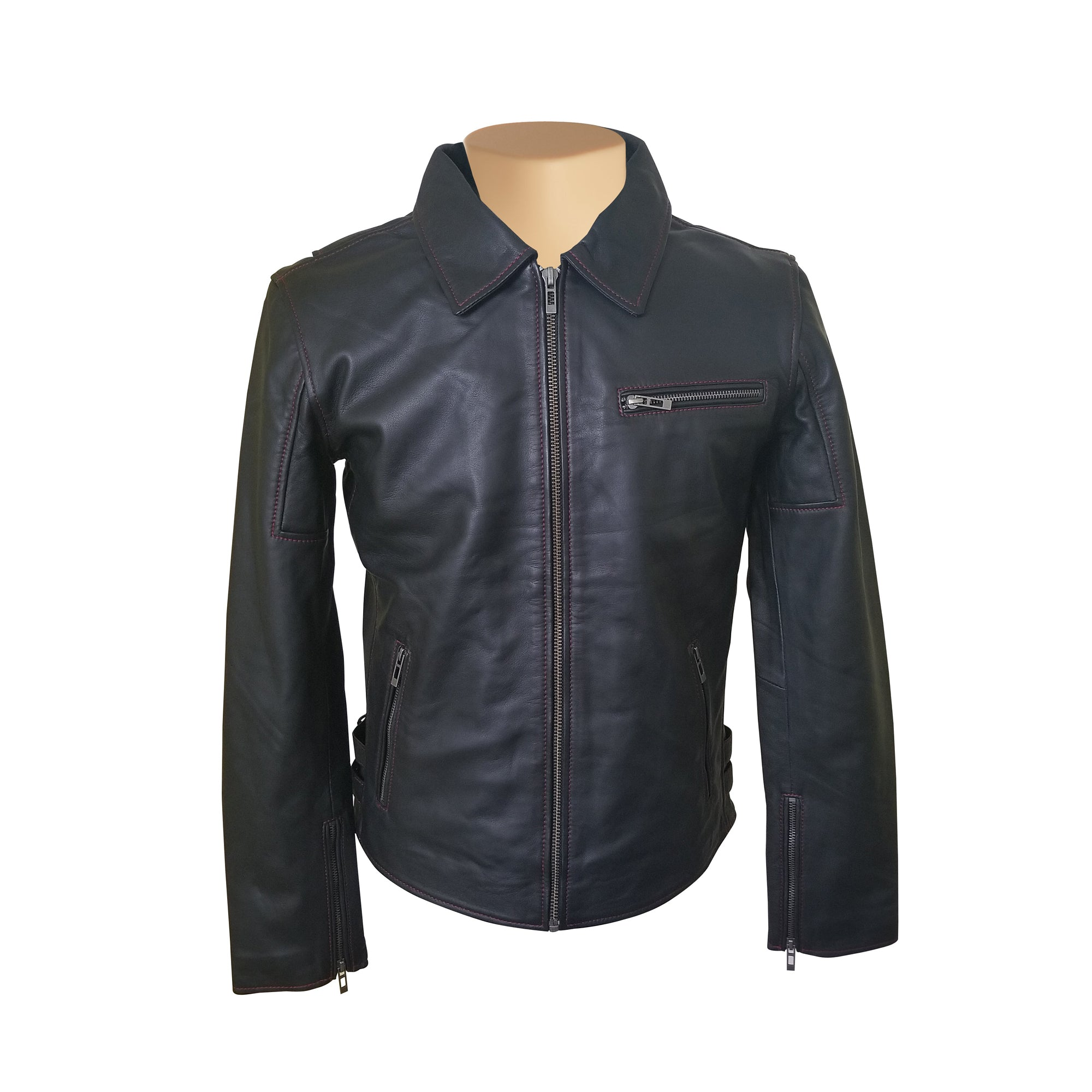 Bonnie's black leather jacket with red stitching