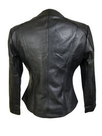 Black double breasted minimalist leather jacket