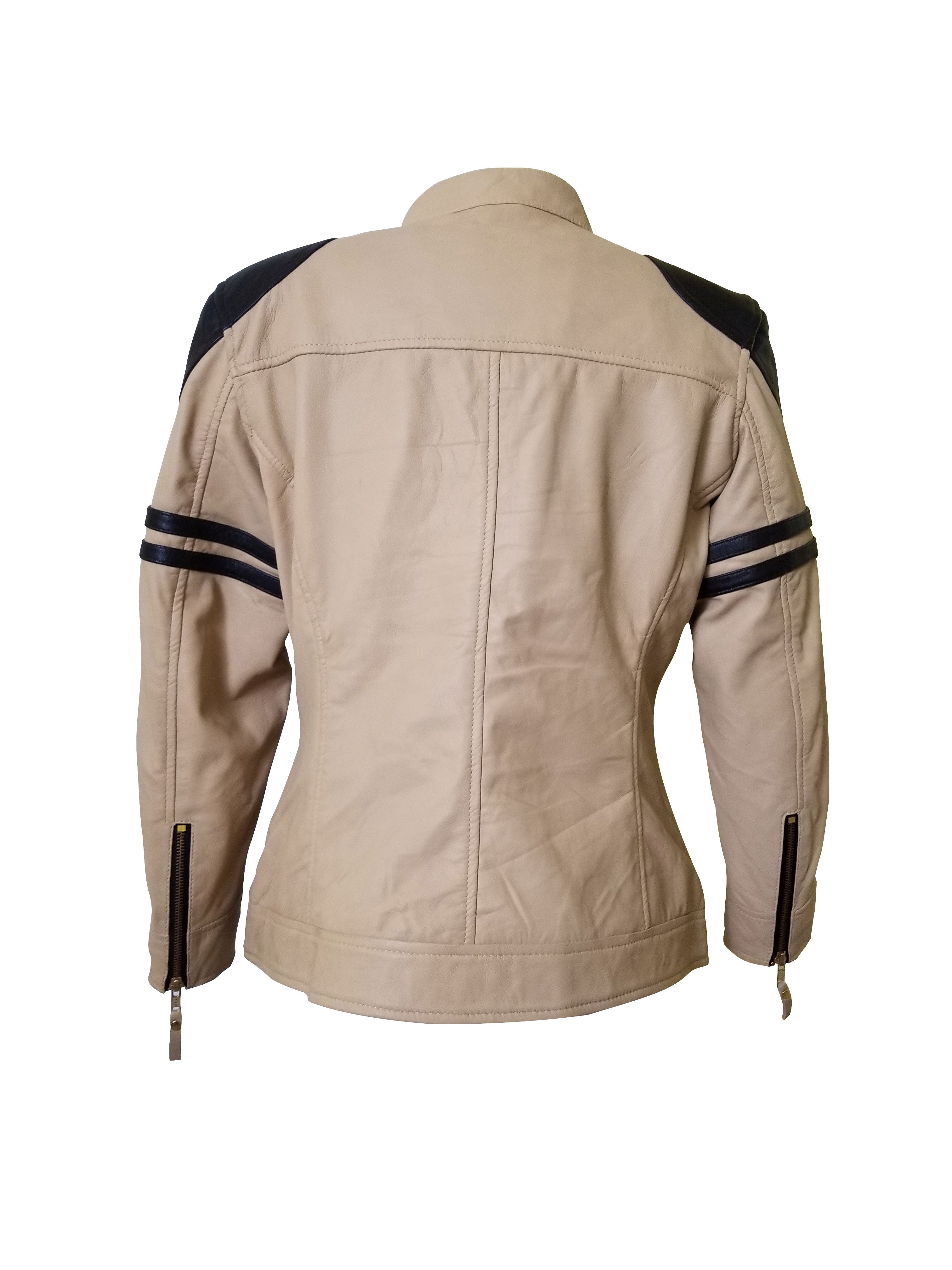 Senan's beige and brown moto style leather jacket
