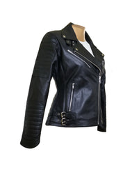 Miyah's Biker style leather jacket with asymmetrical zipper