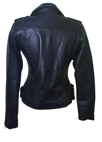 Arielle's biker style black leather jacket with waist belt