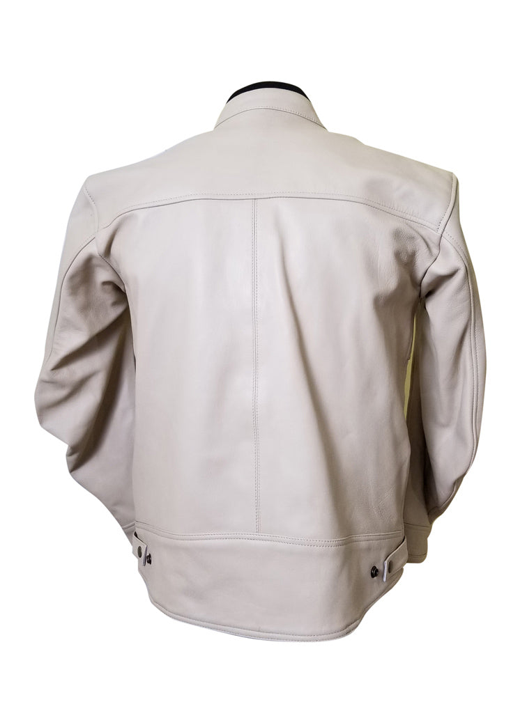 Beige Motorcycle Leather Jacket with armor protection