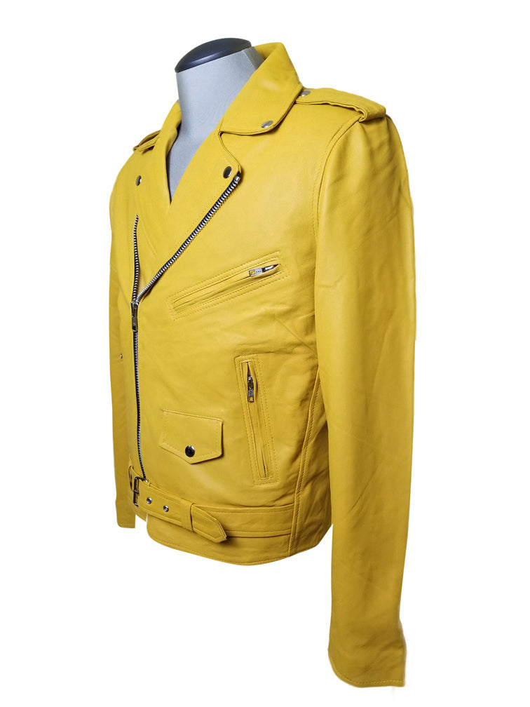 Olson's yellow biker style leather jacket with waist belt