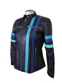 Kerri's moto style leather jacket with blue stripes
