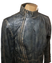Kwame's vintage style leather jacket with straight collar