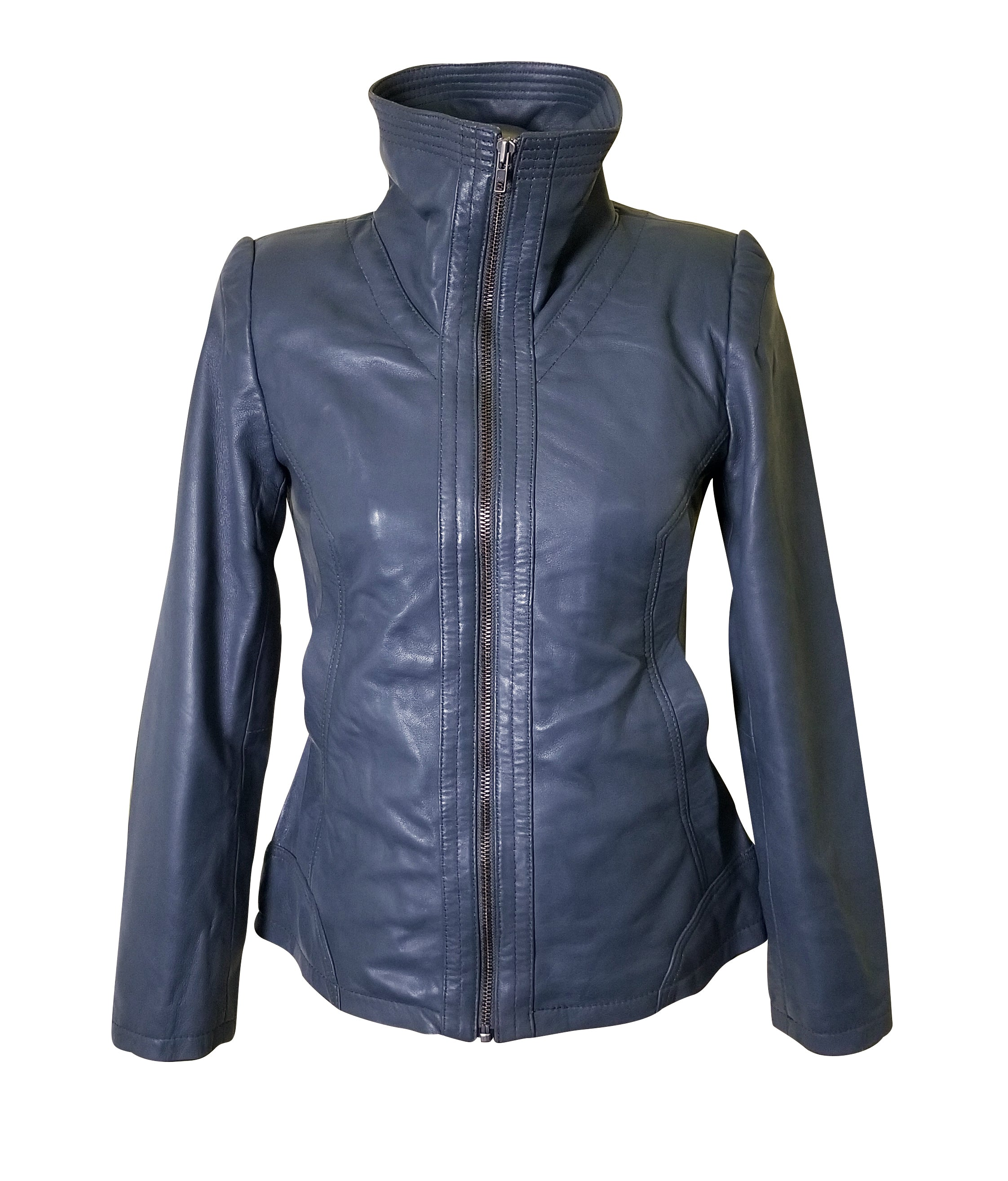 Marva Grey Leather jacket with flap collars