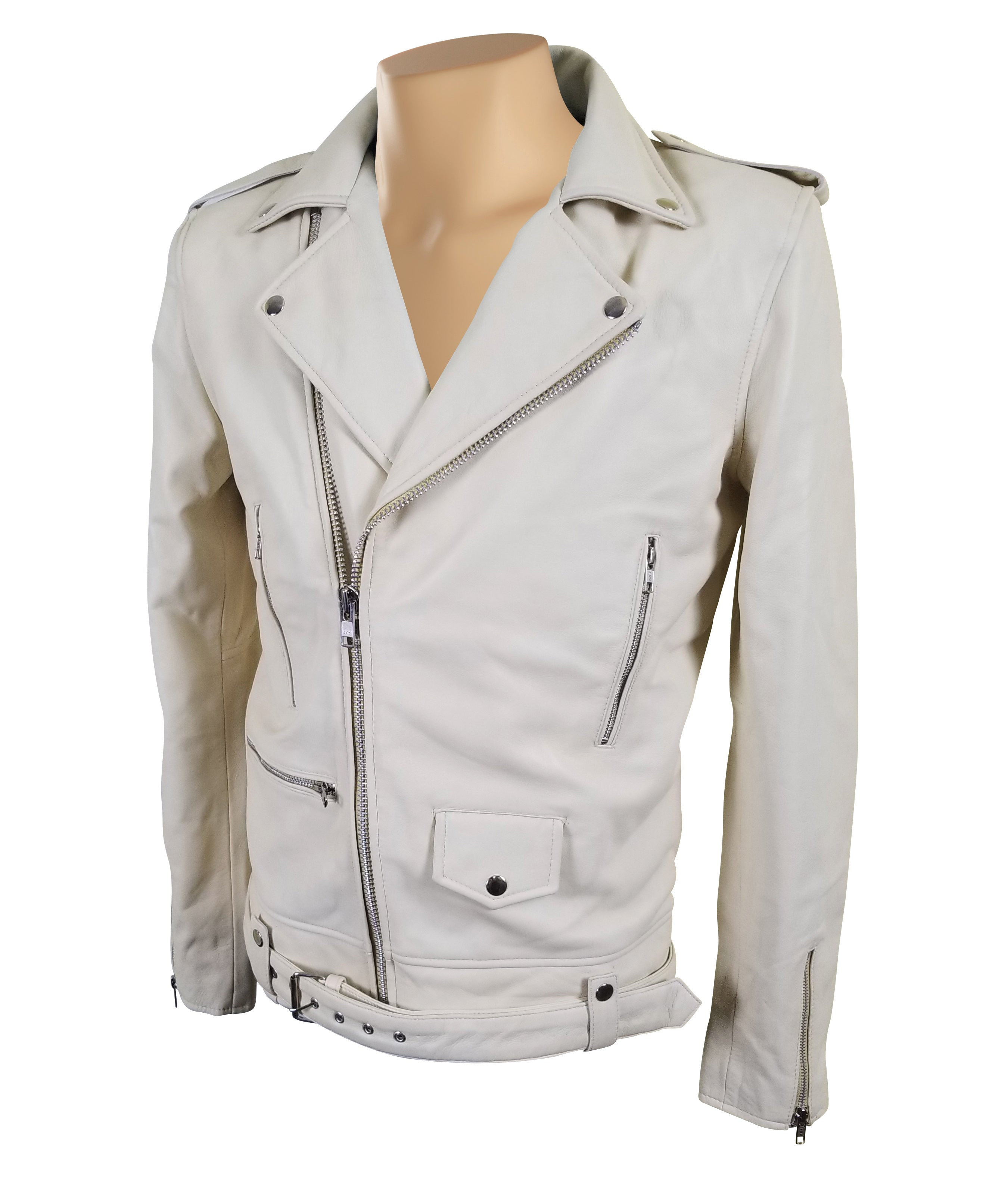 Holman's Cream color Biker Perfecto leather jacket with waist belt