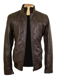 Brown leather jacket with straight ribbed collar, cuffs and hem